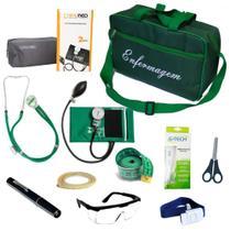 Kit de Bolso da Enfermagem Com Aparelho De Pressão Estetoscópio Duplo Lanterna Clínica Bolsa Verde - Pamed