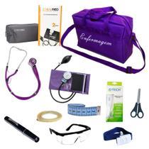 Kit de Bolso Enfermagem Com Aparelho De Pressão Estetoscópio Duplo Lanterna Clínica Bolsa Roxo Lilás - Pamed
