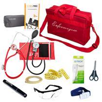 Kit de Bolso Enfermagem Com Aparelho De Pressão Estetoscópio Duplo Lanterna Clínica Bolsa Vermelha - Pamed
