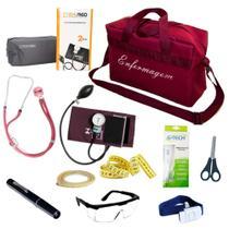 Kit de Bolso Enfermagem Com Aparelho Pressão Estetoscópio Duplo Lanterna Clínica Bolsa Vinho Bordô - Pamed
