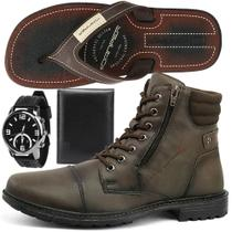 Kit de Bota Coturno Casual Masculino com Relógio, Chinelo e Carteira - Sapatofran