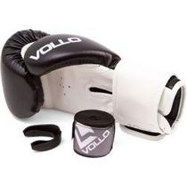 Kit De Boxe 10 Oz Preto - 1 Luva - 2 Bandagens - 1 Protetor Bucal - Vollo -