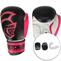 Kit de Boxe Thai Pretorian: Bandagem + Protetor Bucal + Luvas de Boxe Performance - 10 / 12 OZ - Preta/Rosa -