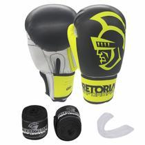 Kit de Boxe Thai Pretorian: Bandagem + Protetor Bucal + Luvas de Boxe Performance - Amarela - 12 / 14 OZ -