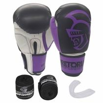 Kit de Boxe Thai Pretorian: Bandagem + Protetor Bucal + Luvas de Boxe Performance - Roxa - 12 / 14 OZ -