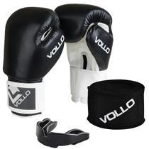 Kit de Boxe Vollo com Luva COMBAT 12 OZ, Bandagem e Protetor Bocal Preto VFG501-12 -