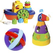 Kit de Brinquedos Educativos Barco + Tucano + Bola - Mercotoys