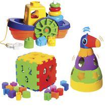 Kit de Brinquedos Educativos Barco + Tucano + Cubo - Mercotoys