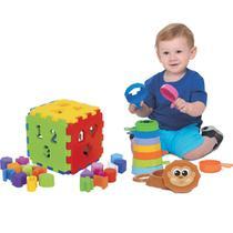 Kit de Brinquedos Educativos Cubo Didático + Empilha - Mercotoys