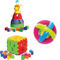 Kit de Brinquedos Educativos Girafa + Cubo + Bola - Mercotoys