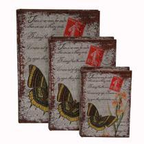 Kit de Caixa Organizadora Livro Burttefly 3 Peças - Toyland -