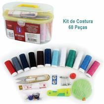 Kit de Costura com 68 Peças na Maletinha Agulha Linha Botões CLink -