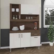 Kit de Cozinha Luana 121cm Balcão e Armário Compacto Marrom - Stx Móveis