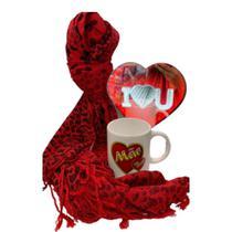 kit de dia das Mães Com Cachecol, Xícara e Abajur de Coração - Nfranca