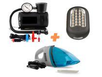 Kit de Emergência Carro: Mini Compressor de Ar 300 PSI + Aspirador de Pó Portátil + Lanterna Mecânico Inspeção 27 Leds - Aceleraparts