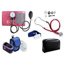 Kit de Enfermagem com Aparelho de Pressão e Estetoscópio Rappaport Premium + Oxímetro de pulso - G-Tech - -