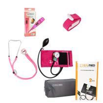 Kit de Enfermagem Rosa Pink Estetoscópio Duplo Rappaport Aparelho de Pressão Termômetro Digital e Garrote - Pamed
