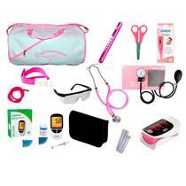 Kit de Enfermagem Super Luxo com Aparelho de Pressão Rosa Premium c/ Bolsa Branca - Premium, G-Tech, Bic