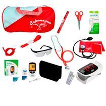 Kit de Enfermagem Super Luxo com Aparelho de Pressão Vermelho Premium - Premium, G-Tech, Bic