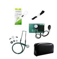 Kit de Enfermagem Verde Com Estetoscópio Duplo Aparelho de Pressão Aparelho de Pressão Termômetro Digital e Garrote - Premium