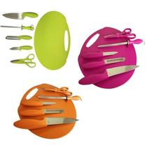 Kit de facas silicone completa com tabua chaira tesoura conjunto 6 peças completo - GIMP