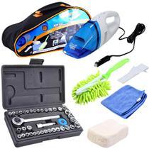 Kit de Ferramentas Automotivo 46 pcs Soquetes e Aspirador 12v Limpeza para carro - Titanium
