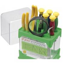 Kit de ferramentas multifuncional 10 peças para celular, tablet, notebook com lupa e suporte - Gimp