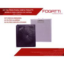 Kit de Filtros Alumínio + Carvão para Coifa Fogatti Modelo Vidro Curvo Antiga -