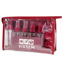 Kit de Frascos Viagem Bolsa Pástico Transparente Shampoo Sabonetes Álcool 10 Peças - Jacki Design