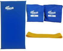 kit de ginástica com mini band leve tornozeleira de peso 2kg e colchonete academia - Deveras