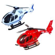 Kit de Helicópteros Resgate e Polícia Brinquedo Infantil Bate e Volta Luzes e Sons - Barcelona