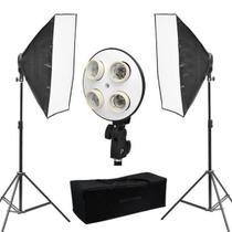 Kit de iluminação com 2 Softbox 70x50cm 2 Soquete E27 Quadruplo 2 Tripés 2mts - Equifoto