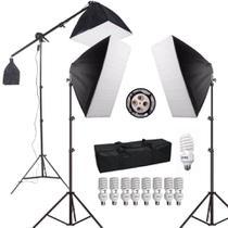 Kit de Iluminação para Estúdio Fotográfico com Softboxes, Girafa e Tripés de Iluminação (110V) - Equifoto