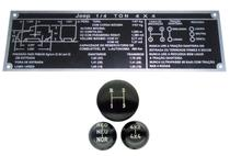 Kit de jogo de bola de câmbio 3 marchas 4x4 red com indicação preta + plaqueta 1/4 ton jeep cj5 willys - Kits Casa Aventura