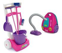 Kit De Limpeza MobiCar + Aspirador De Pó Com Som e Luz Usual - Usual Brinquedos