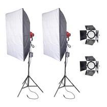 Kit de luz continua com Softbox de 1600W Halógena com dimmer - Nicefoto