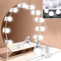 Kit de Luzes LED Espelho Penteadeira Camarim USB 10 lâmpadas com 3 Cores - Fwp