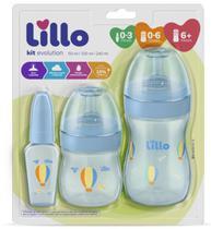 Kit de Mamadeira Primeiros Passos 50/150/240ml Azul - Lillo -