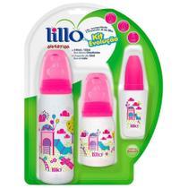 Kit de Mamadeiras Evolução Divertida Rosa 3 Unidades - Lillo -