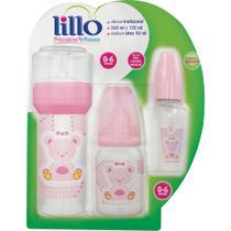 Kit de mamadeiras lillo primeiros passos rosa -