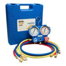 Kit de Manifold Profissional EOS com Mangueira de 1,5m para R22/R134A/407com404A e Maleta -