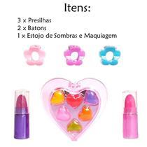 Kit de Maquiagem Infantil com Sombra Brilhos Batom e Aplicador - Attic