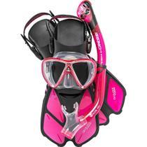 Kit de Mergulho Máscara+Respirador+Nadadeiras Cressi Bonete Pro -