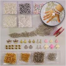 Kit de miçangas, pérolas e acessórios para pulseiras - Branco - Filó Materiais