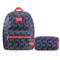 kit de Mochila de costa Com estojo escolar azul e rosa City - Jacki design