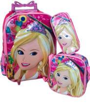 Kit de mochila escolar com carrinho Barbie Princesa - Dtc