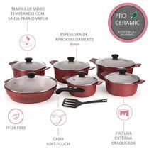 Kit De Panelas 6 Peças Revestimento Em Cerâmica Antiaderentes   Espátula Chef Profissional Fogão E Forno Vermelho Casa Dona -