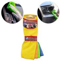 Kit de Panos Microfibra Luxcar para Limpeza Automotiva com 4 Peças Laranja Azul Amarelo Verde -