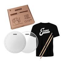 """Kit de Peles de Caixa Evans HD Dry 14"""", Hazy 300 Resposta 14"""", Baqueta Promark 5A e Camiseta Evans -"""