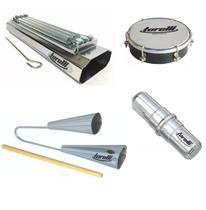 Kit de percussão torelli com reco reco agogo duplo tamborim e ganza -
